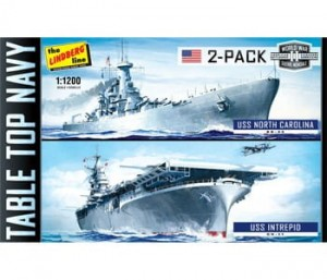 Model plastikowy - Zestaw 2 łodzi Tabletop Navy 2-Pack - USS Intrepid & USS NC - Lindberg